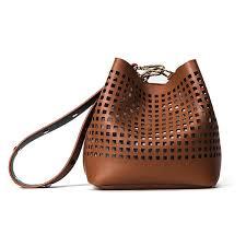 women faux leather hollow out national bucket bag shoulder bag handbag cod