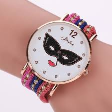 mens coloured watches promotion shop for promotional mens coloured fashion mask eye mouth bracelet watch mens womens unisex leisure dress quartz weave rope colourful bands 2016 whole watches