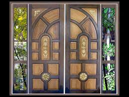 kerala style wooden main door glass painted side window