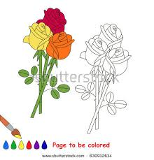 rose bouquet to be colored the coloring book for pre kids with easy educational gaming