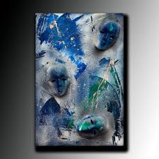 3d mask art abstract painting on canvas