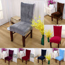 4pcs chair covers removable stretch slipcover dining room fox pile fabric covers