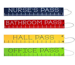Hall Passes For School Amazon Com Set Of 4 Wooden School Passes Ruler Themed Office Hall