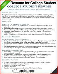 Examples Of College Student Resumes Magnificent Resume College Student Resume Samples For College Students And