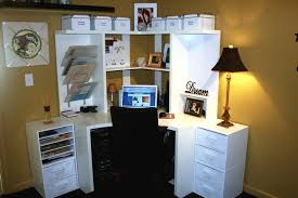 cool home office designs nifty. Corner White Wooden Office Table With Hutch And Drawers In Cream Room Cool Home Designs Nifty