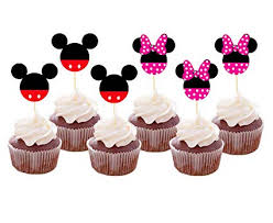 Amazoncom Set Of 24 Pieces Cute Mickey Minnie Mouse Cupcake