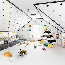 Black and White Attic Playroom with Stripe Teepee, Contemporary, Boy's Room