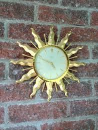 antique sunburst wall clock vintage syroco starburst