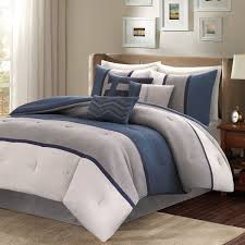 madison park palisades queen size bed comforter set bed in a bag navy grey pieced stripe 7 pieces bedding sets micro suede bedroom comforters