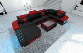 Sofa Wohnlandschaft Bellagio U Form Schwarz Rot