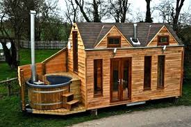 Tiny Cabin on Trailer with Outdoor Hot Tub Built In -- in UK