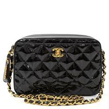chanel black quilted patent leather vintage bag