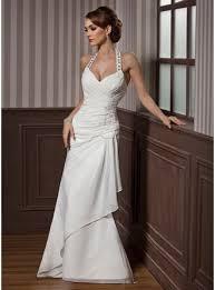 sheath column halter floor length chiffon satin wedding dress with