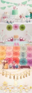 Hanging Pom Pom Decorations Hanging Paper Fans Party Idea Lovely Pastel Dessert Tables Designs