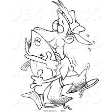 Small Picture Vector Of A Cartoon Man Hugging A Bass Fish Coloring Page Man