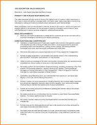 Retail Job Description Resume Prepossessing Resume Retail Sales Associate Job Description In 50