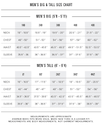 Mens Size Chart Size Fit Andrew Marc