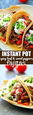 Instant pot fajitas are all the rage! Instant Pot Spicy Beef And Sweet Peppers Fajitas