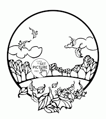 Small Picture Fall Scene in a Circle coloring pages for kids fall leaves
