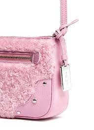 Lyst - Coach  small Rhyder  Shearling Panel Leather Crossbody Bag in Pink