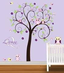 tree wall decal girls nursery vinyl wall stickers flowers owls curl tree butterflies lilac yellow 99 99 via etsy  on tree wall art for baby nursery with nursery wall decal children wall decal baby girl wall decal nursery