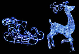 premier reindeer and sleigh with 140 white led s 2 piece set 100cm
