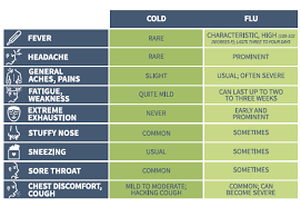Cold Symptoms Vs Flu Symptoms Chart Cold Vs Flu