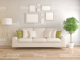 Modern Living Room With Picture Frame On Wall Stock Photo Wall Picture Frames For Living Room
