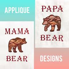 Bear Claw Embroidery Design Mama Bear Papa Bear Applique Design Package Emberwing