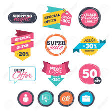 Sale Stickers Online Shopping Business Icons Human Silhouette