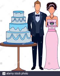 Flat Wedding Cake Designs Bride And Groom And Wedding Cake Flat Design Stock Vector