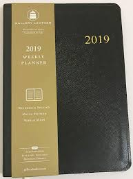 com 2019 gallery leather midnight black cartier leather weekly desk planner size 8 x 5 75 made in usa office products