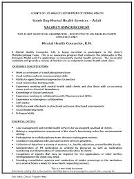 Resume For Counselor Mental Health Counselor Job Description Resume From Summary