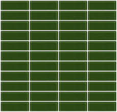 1x3 Inch Sage Green Glass Subway Tile Stacked