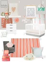 my modern nursery  coral and mint sponsored by lullaby paints