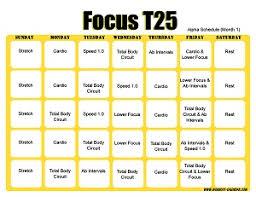 Focus T25 Workout Calendar Print A Workout Calendar