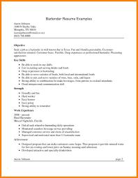 Bartending Resume Skills Free Bartender Resume Skills Examples