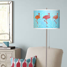 Giclee Glow Flamingo Shade Brushed Nickel Pull Chain Floor Lamp