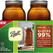 ball half gallon amber wide mouth glass canning jars 2 pk high resolution image