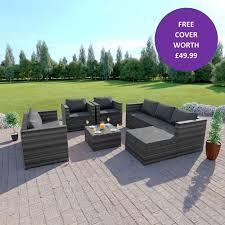 rattan garden corner sofa 7 seat set