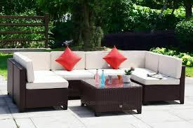 outsunny 7 piece rattan outdoor