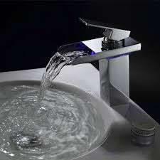Brass LED RGB <b>Waterfall</b> Deck Mounted Ceramic Valve One Hole ...
