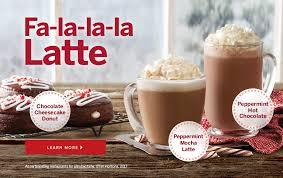 fa la la la latte chocolate cheesecake donut peppermint mocha latte
