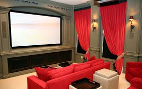 basement theater ideas. Interior:Spacipious Home Theater Room Interior Design With Red Leather Sofa And Cream Flooring Ideas Basement