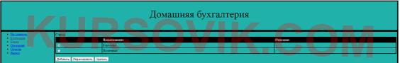 web сайт Домашняя бухгалтерия Курсовая работа на php  сайт домашняя бухгалтерия домашняя бухгалтерия