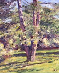 tree painting pine tree in sunlight by michael camp