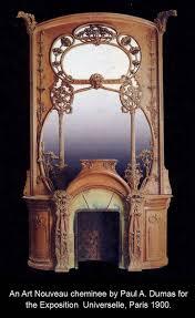 art nouveau antique fireplace mantel