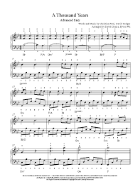 A Thousand Years Sheet Music A Thousand Years By Christina Perri Piano Sheet Music