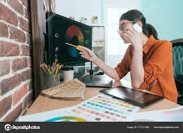 Designer Stock Photo Professional Smiling Woman Graphic Designer Stock Photo