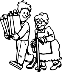 Coloring pages for toddlers, preschool and. Helping Others By Carrying Elderly Groceries Stuff Coloring Pages Coloring Sky